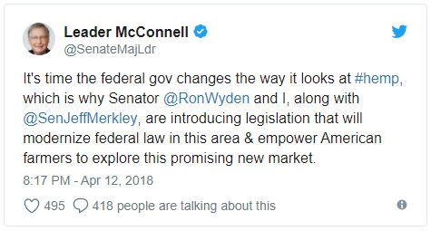 Senator McConnell announced the hemp legalization bill.