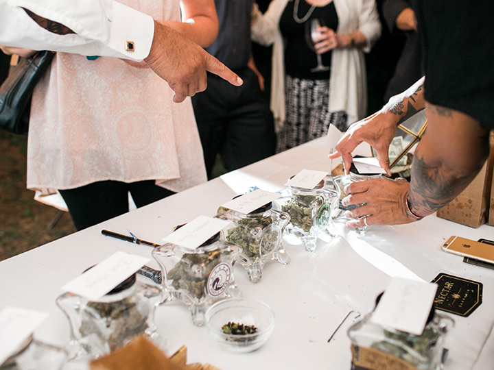 "Curious wedding guests checking out the ""weed bar."""