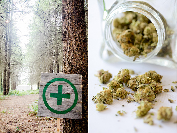 """Left: Signage identifying the cannabis bar; Right: Some of the buds offered at the couple's """"weed bar."""""""