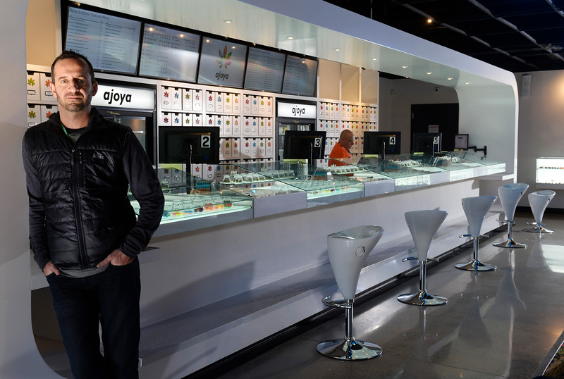 Ajoya CEO Shaun Gindi at the eye-catching counter of the new marijuana dispensary in Louisville, CO on Thursday, November 12, 2015. Ajoya's interior space offers a new retail experience for customers. The interior was designed by Roth Sheppard Architects. (Photo by Cyrus McCrimmon/The Denver Post)