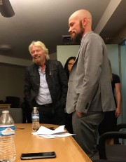 Richard Branson, left, and Colorado attorney Brian Vicente, who co-directed the pot-legalizing Amendment 64 campaign in 2012, share a laugh during Branson's visit on March 15, 2016. (Sarah Bee, Special to The Cannabist)