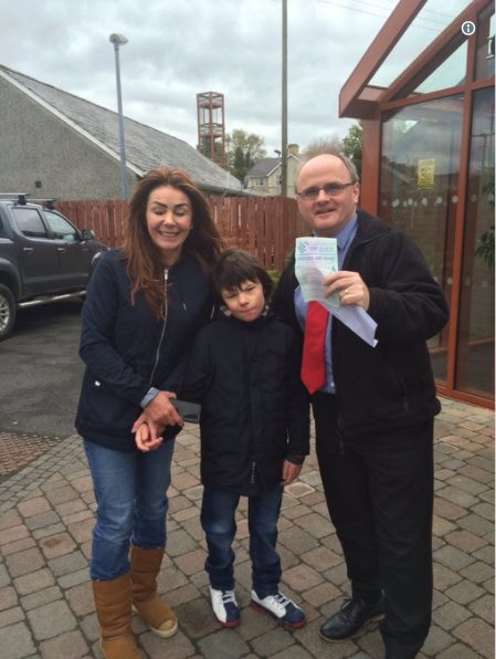 Charlotte & Billy Caldwell with young Billy as he picks up his first ever medicinal cannabis oil prescription.