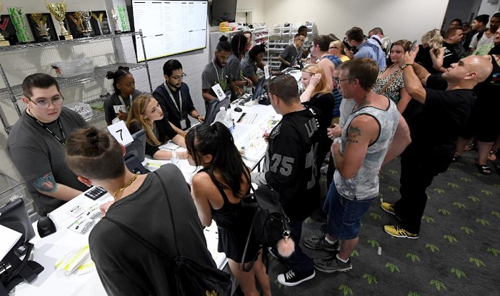 Nevada joins seven other states allowing recreational marijuana use and becomes the first of four states that voted to legalize recreational sales in November's election to allow dispensaries to sell cannabis for recreational use to anyone over 21. (Photo by Ethan Miller/Getty Images)