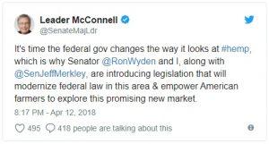 Senator McConnell announced the hemp legalization bill.