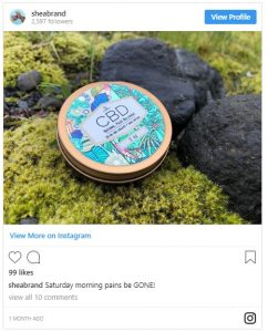 Shea brand started infusing CBD into their products in plastic free containers.