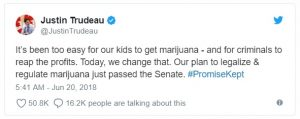 The Canadian legislation, known as the Cannabis Act, stems from a campaign pledge of Prime Minister Justin Trudeau.