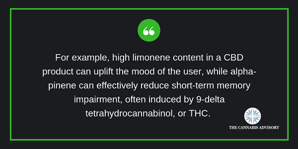 The differences in the observed effects in cannabis are due to their terpenoid content.