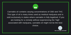 Cannabis oil contains varying concentrations of CBD and THC.